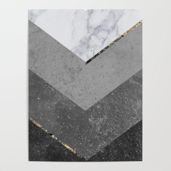 Marble Gray Copper Black Gold Chevron by marilenaxiari