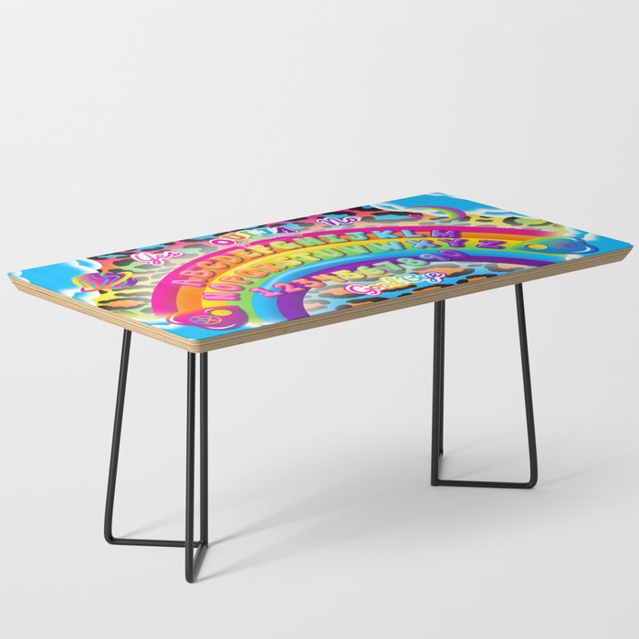 1997 Neon Rainbow Ouija Board Coffee Table