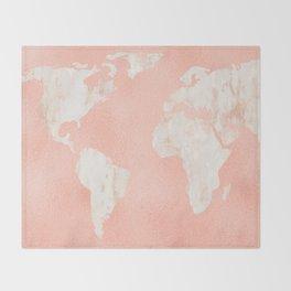 Pink Rose Gold World Map Throw Blanket