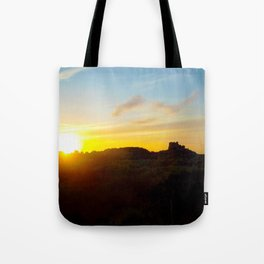 Winter sunset in Bamburgh Tote Bag