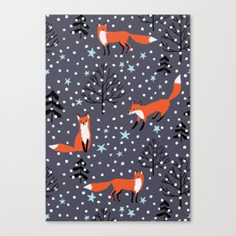 Red foxes in the nignt winter forest Canvas Print
