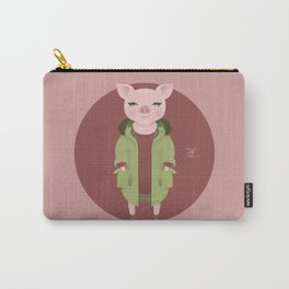 Animal Fashion: P is for Pig in a parka, a pullover and with a pearl necklace. Carry-All Pouch