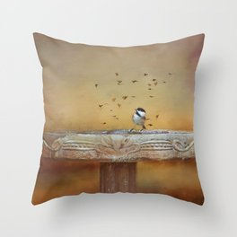 Chickadee and Butterflies Throw Pillow