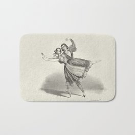 The Dancers, young man and woman, graphite, black white Bath Mat