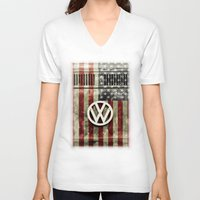 vw bus V-neck T-shirts featuring VW Retro US Flag by Alice Gosling