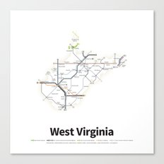 Highways of the USA – West Virginia Canvas Print