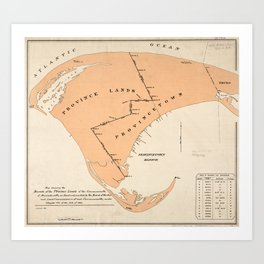 Vintage Map of Provincetown MA (1893) Art Print
