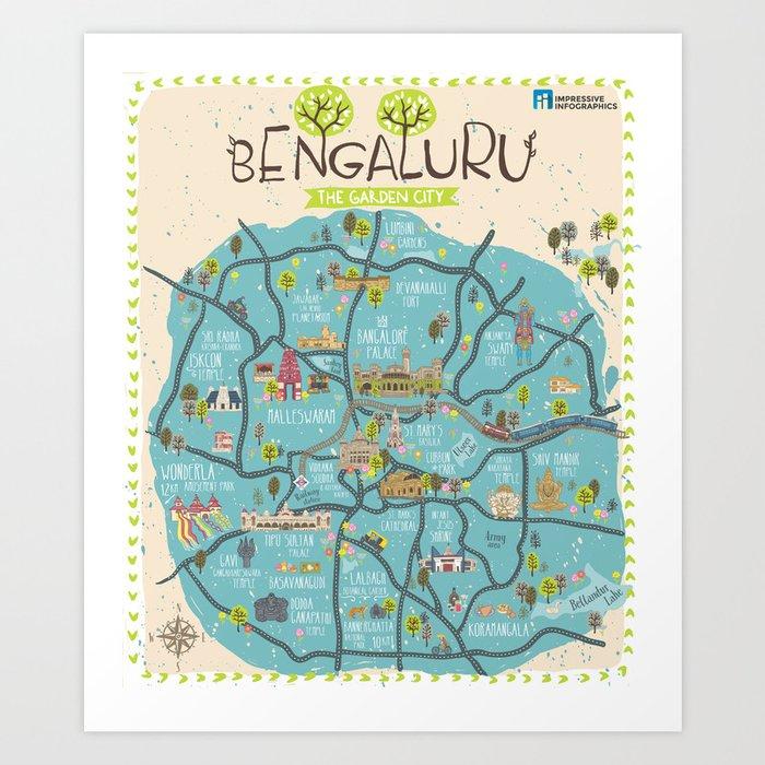 Bangalore City Map Art Print By Impressiveinfographics