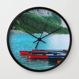 canoes in alberta Wall Clock