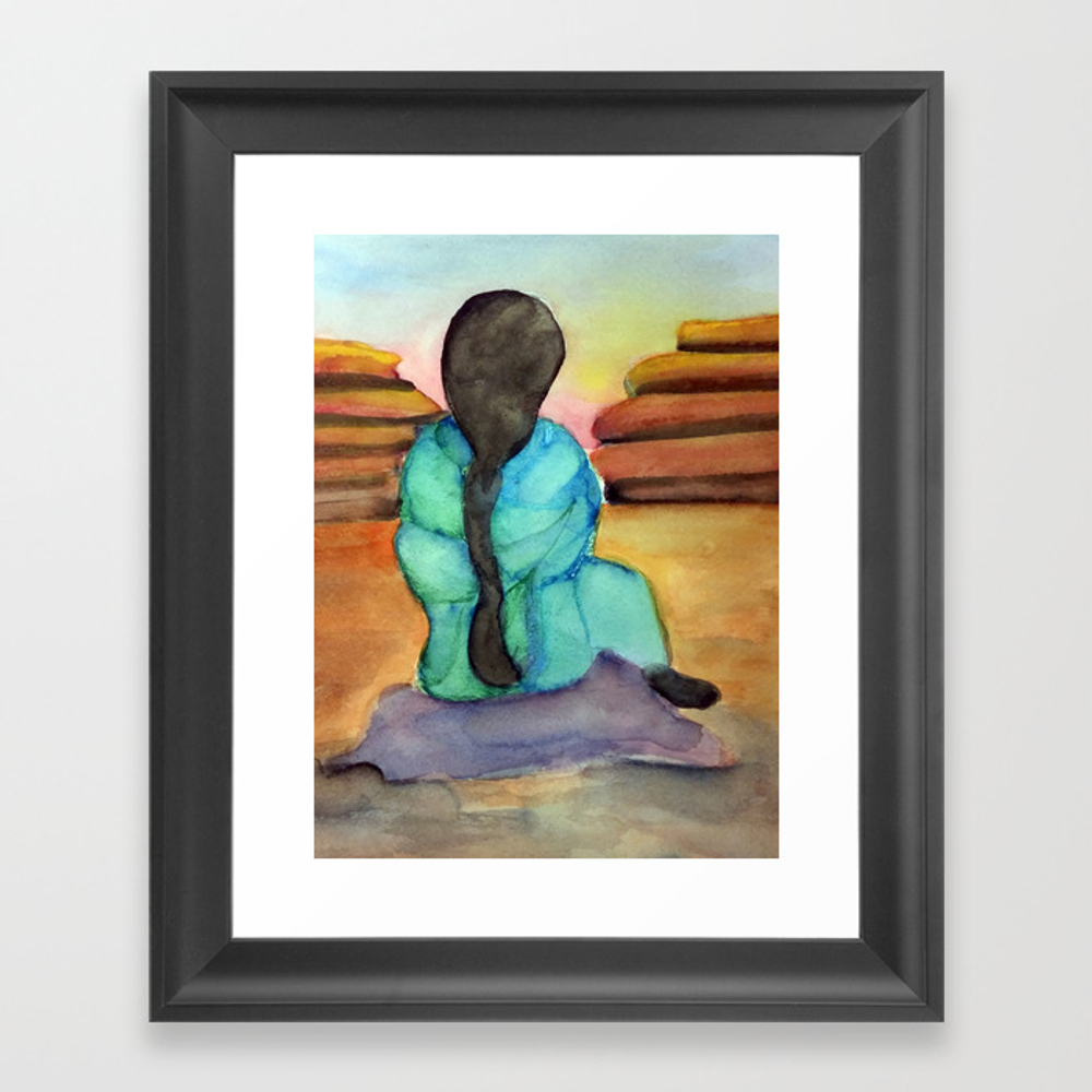 Woman Sitting On Rock Framed Art Print by Desertsart FRM8442675