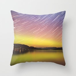 Aurora at Flat Head Lake Throw Pillow