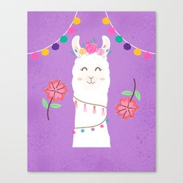 Happy Boho Llama with Pompoms in Purple Canvas Print