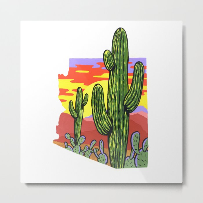 Arizona Saguaro Sunset Metal Print
