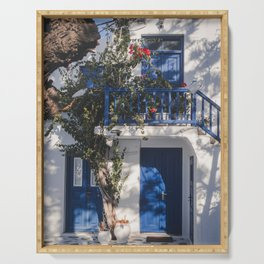 Cityview in Mykonos town | Mykonos Greece Travel Photography | Blue white Photo Print Serving Tray