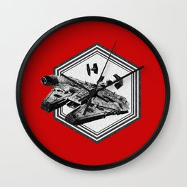 Millennium Falcon TIE Fighter Dotwork - Pointillism Art Wall Clock