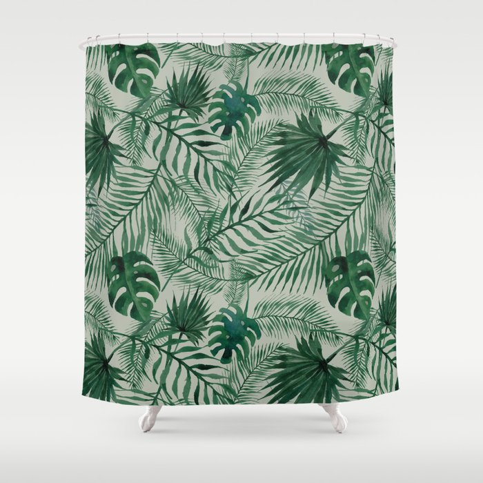 Jungle Leaves Pattern Shower Curtain