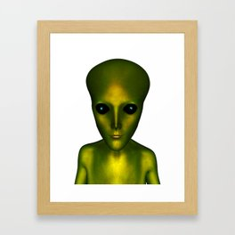 Alien Head and Shoulders Green Scaled Creature Framed Art Print