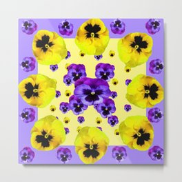 YELLOW & PURPLE PANSY FLOWERS FLOATING ON LILAC Metal Print