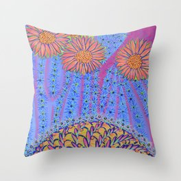 Spiky Saguaro Blooms and Spiny Basket - Desert Energy Throw Pillow