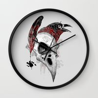 writer Wall Clocks featuring DARK WRITER by TOXIC RETRO