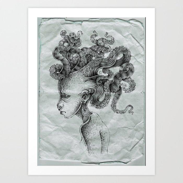 tentacle medusa-with texture Art Print