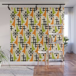 Mid Century Modern Atomic Wing Composition Orange and Chartreuse Wall Mural