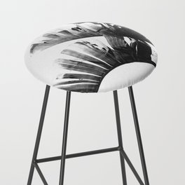 Palm leaves black and white tropical watercolor Bar Stool