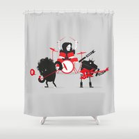 drums Shower Curtains featuring Monsters of Metal by DWatson