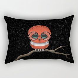 Baby Owl with Glasses and Austrian Flag Rectangular Pillow