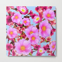 BLUE PURPLE ACCENTS PINK  GARDEN  FRUIT TREES FLOWERS Metal Print