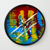airplane Wall Clocks featuring Airplane by Lue Brentwood