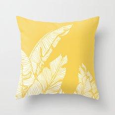 Banana Leaves on Yellow #society6 #decor #buyart Throw Pillow
