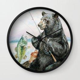 Black Bear catching a Bass Wall Clock