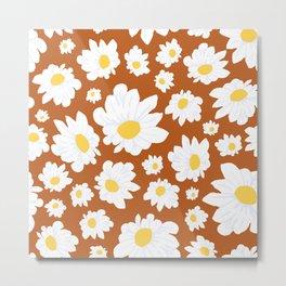 Field of Daisies in Earth Brown Metal Print