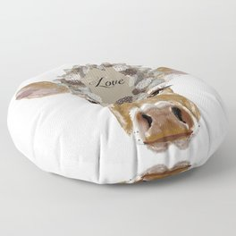 Cow with Love Hat Floor Pillow