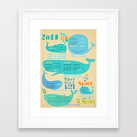 calender Framed Art Prints featuring Whale Calender 2014 by Elisandra
