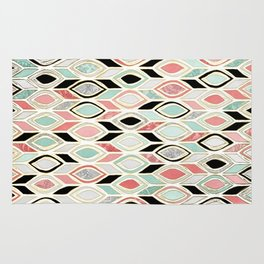 Patchwork Pattern in Coral, Mint, Black & White Rug
