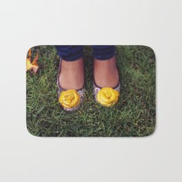 Yellow Flower Shoe! Bath Mat