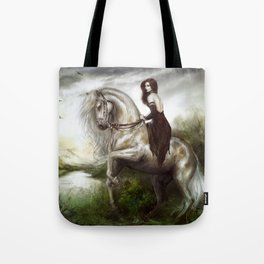 Morning welcome - Royal redhead girl riding a white horse Tote Bag