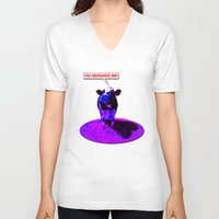 cows V-neck T-shirts featuring Psychedelic Cows by Peter Gross