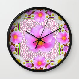 Floral Abundance Brown Shasta Daisy Pink Roses Abstract Art Wall Clock