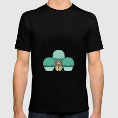 Cute Monster With Cyan Frosted Cupcakes MEDIUM Mens Fitted Tee Black