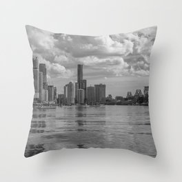 Black and White Brisbane Throw Pillow