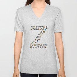letter Z - zoological animals Unisex V-Neck