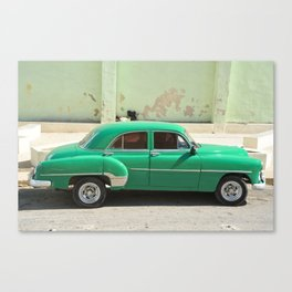 Vintage Car Havana Cuba Green Old Automobile American Classic Latin America Tropical Caribbean Canvas Print