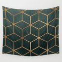 Dark Teal and Gold - Geometric Textured Gradient Cube Design by catherinebuggins