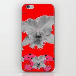 MODERN ART RED ART NOUVEAU WHITE ORCHIDS ART iPhone Skin