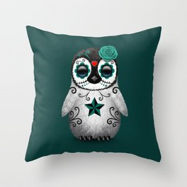 Teal Blue Day of the Dead Sugar Skull Penguin Throw Pillow