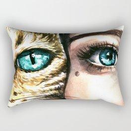 Blue eyes of a woman and a cat Rectangular Pillow