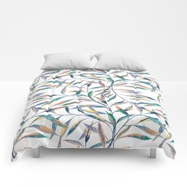 Bright sprigs on a white background Comforters